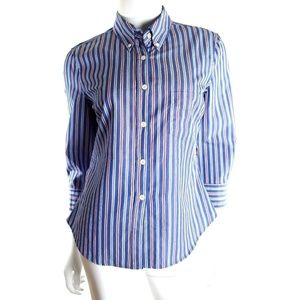 Boy Band of Outsiders Blue Striped Cropped Shirt